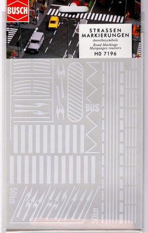 HO Scale Busch Gmbh & Co 7196 Road/Street Markings Rub-On Decal Set