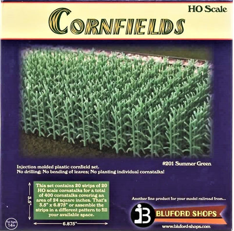 HO Scale Bluford Shops #201 Summer Green 400 Stalks Cornfield Kit
