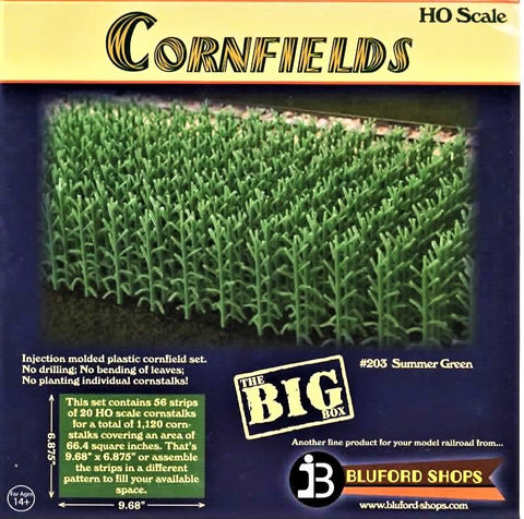 HO Scale Bluford Shops #203 Summer Green 1200 Stalks Cornfield Kit