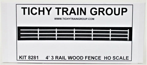 HO Scale Tichy Train Group 8281 3-Rail Wood Fence 4' Scale Tall 20 Pieces