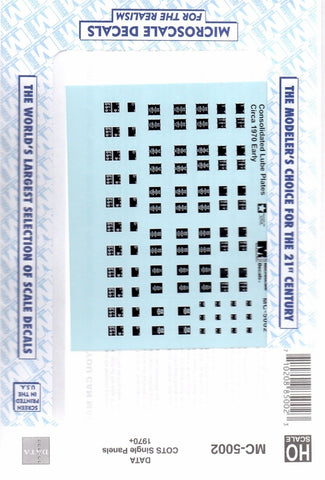 HO Scale Microscale MC-5002 Consolidated Lube Plates COTS Single Panel Decal