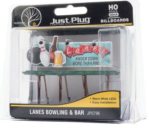 HO Scale Woodland Scenics JP5796 Lanes Bowling Alley & Bar Lighted Billboard