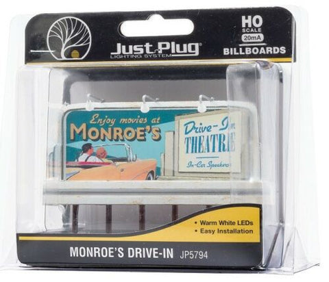HO Scale Woodland Scenics JP5794 Monroe's Drive-In Movie Lighted Billboard