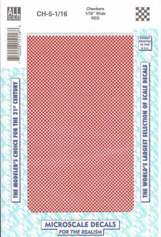 All Scale Microscale CH-5-1-16 Red 1/16 inch Checkers Decal Set