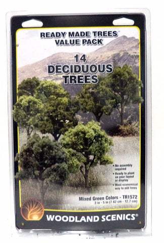 "Woodland Scenics TR1572 Ready Made Deciduous Trees 3 ""- 5"" Value Pack (14) pcs"