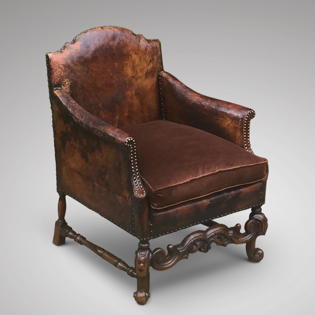 Antique Leather Armchair- Side View