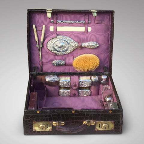 Edwardian Crocodile Leather Dressing Case