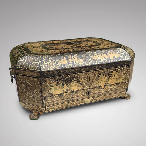 19th Century Chinoiserie Lacquered Sewing Chest