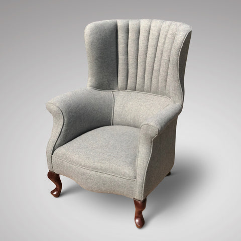 Edwardian barrel chair upholstered in a neutral grey wool herringbone tweed