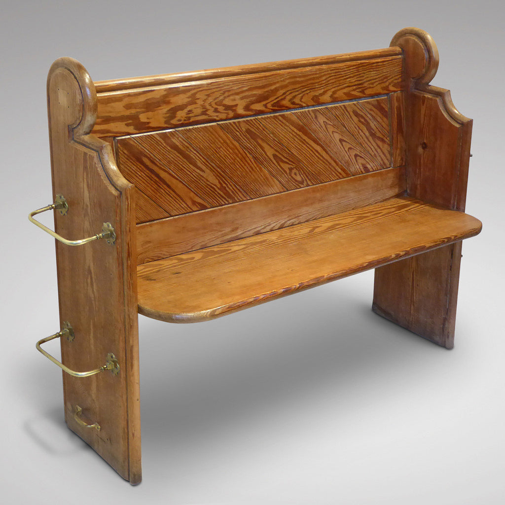 19th Century Pitch Pine Church Pew - Front and side view one
