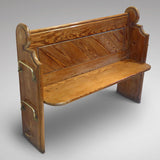 19th Century Pitch Pine Church Pew -Front and side view two