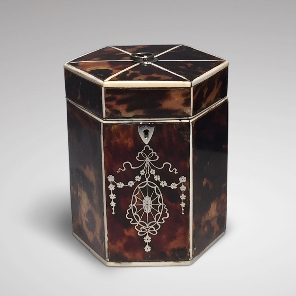 19th Century Tortoiseshell Tea Caddy - Front view one