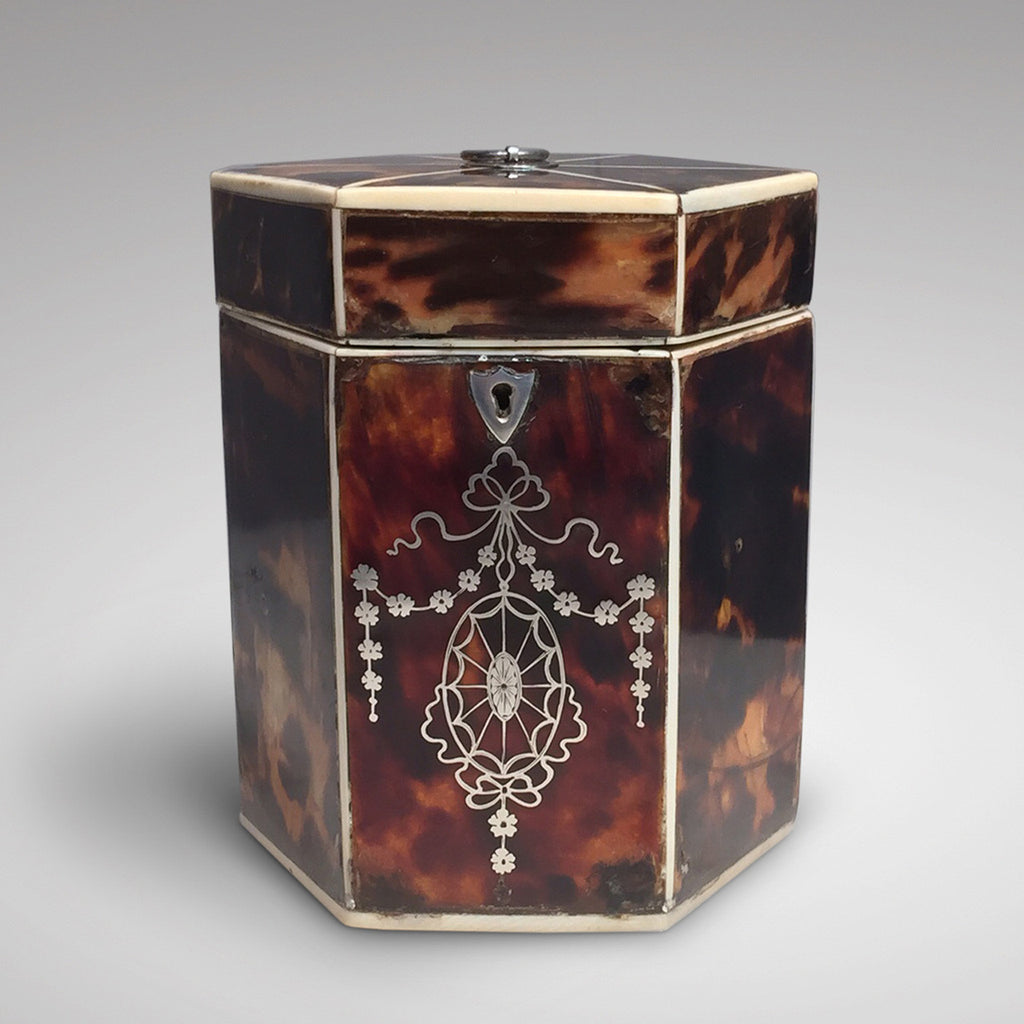19th Century Tortoiseshell Tea Caddy - front view two