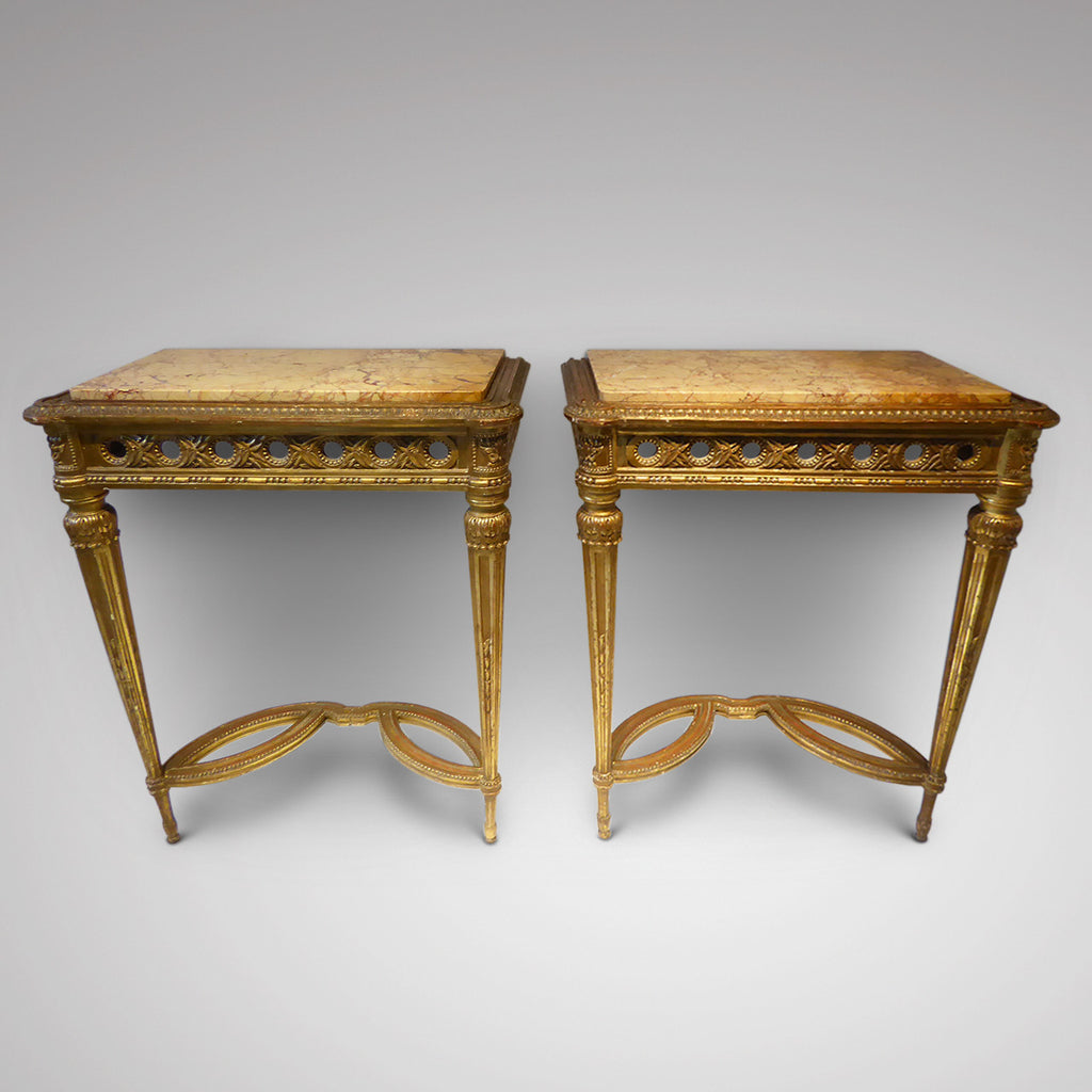 Pair of  Antique Giltwood Tables - Front View-2