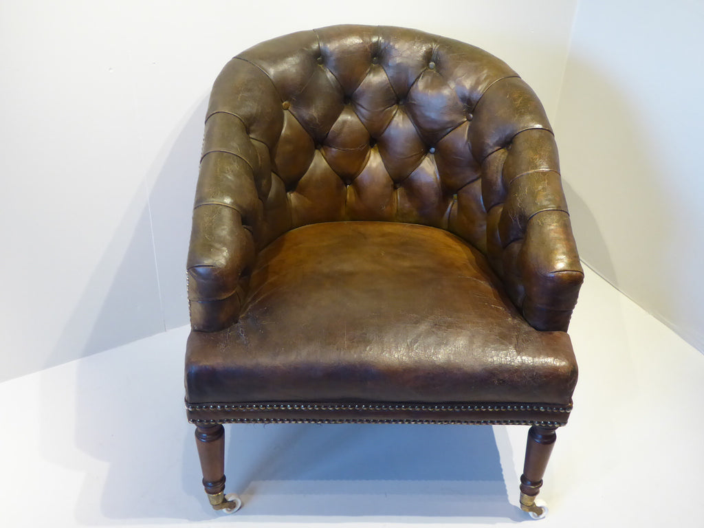 Deep Buttoned Leather Tub Chair - Hobson May Collection - 2