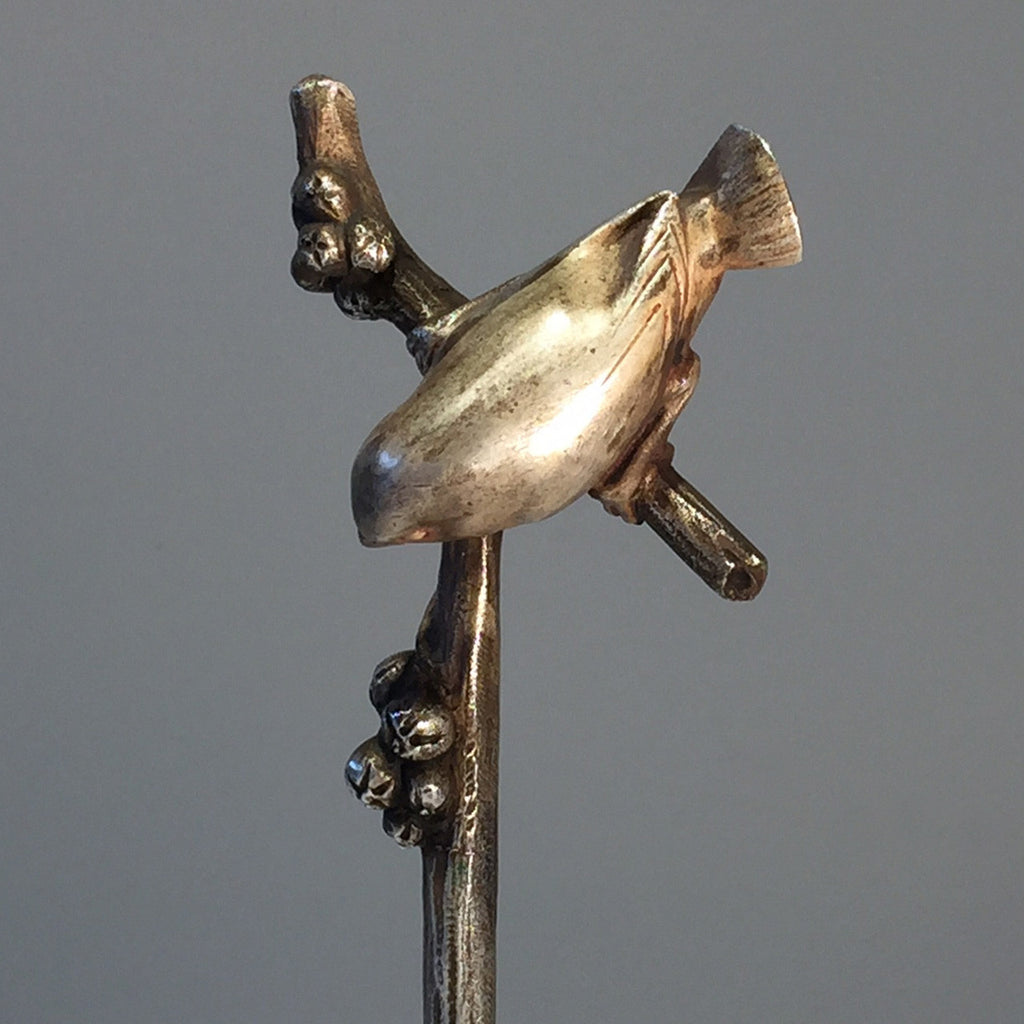 Art Deco Silvered Bronze Wren - Top View -2
