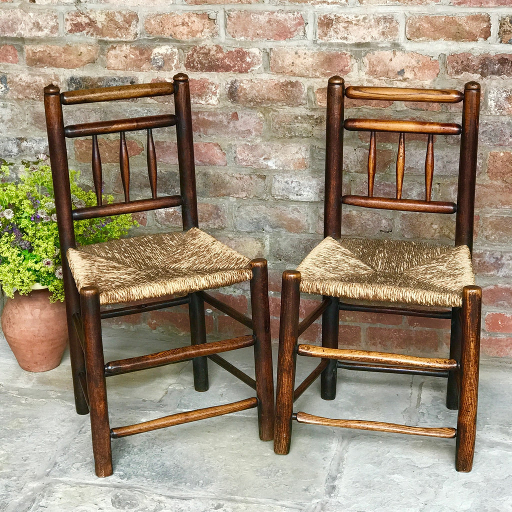 Pair of 18th Century Elm & Ash Country Chairs - Front View- 1