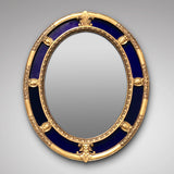 Regency Oval Mirror in Giltwood & Blue Glass Frame - Main View - 1