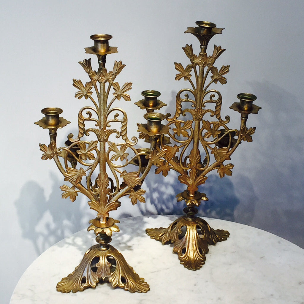 Pair of 19th Century Gilt Candelabra - Back View - 4