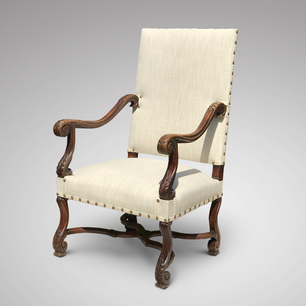 19th Century Open Armchair in the 18th Century Style - Front & Side View -1