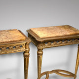 Pair of Antique Giltwood Tables - Front and Side Image -1