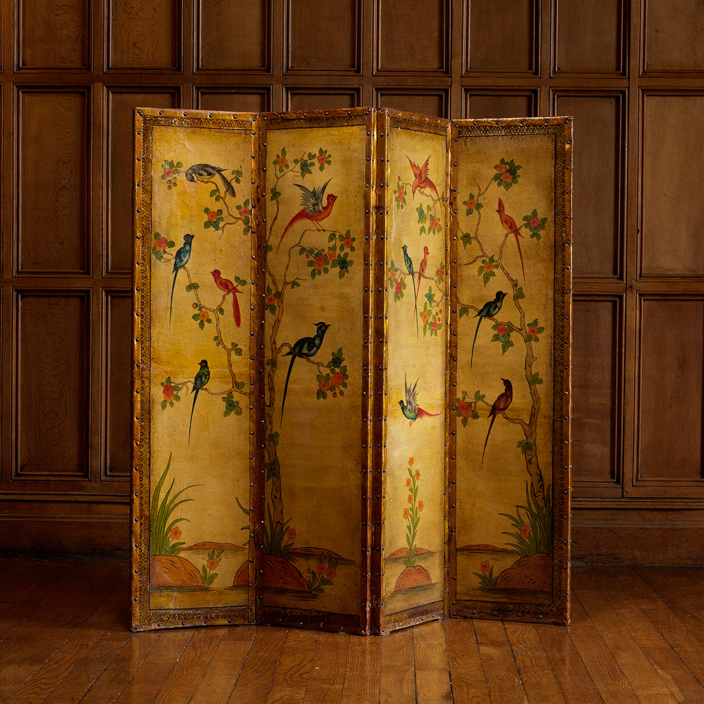 19th Century Painted Leather Screen - Main View - 1