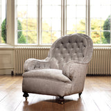 19th Century Buttoned  Armchair - front & Side View -1