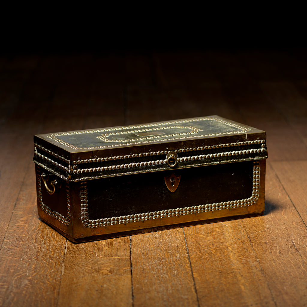 Regency Leather Covered Camphor Campaign Box-Front view 1
