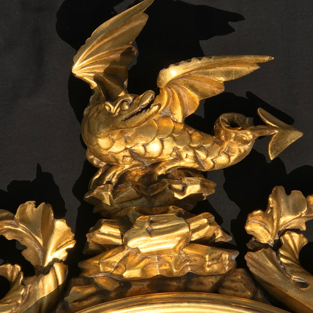 Regency Carved & Gilded Convex Mirror - Dragon Detail View - 6