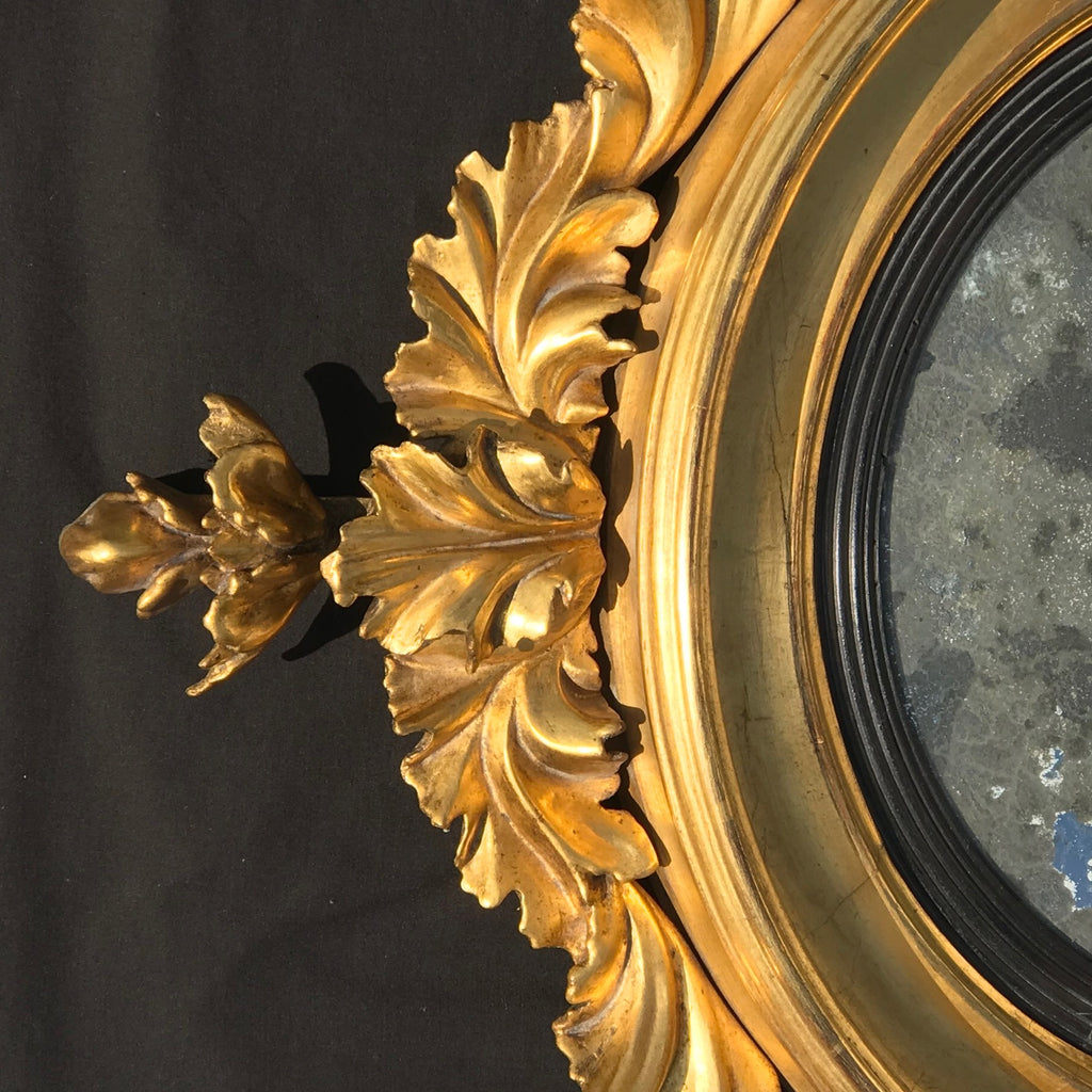Regency Carved & Gilded Convex Mirror - Detail View - 7