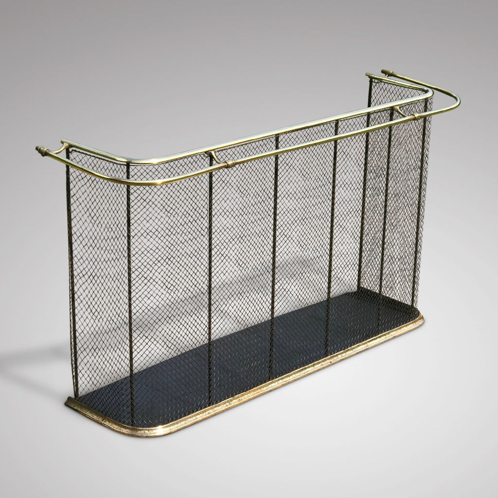 19th Century Nursery Fire Guard with Brass Double Rail - Main & Side View - 2