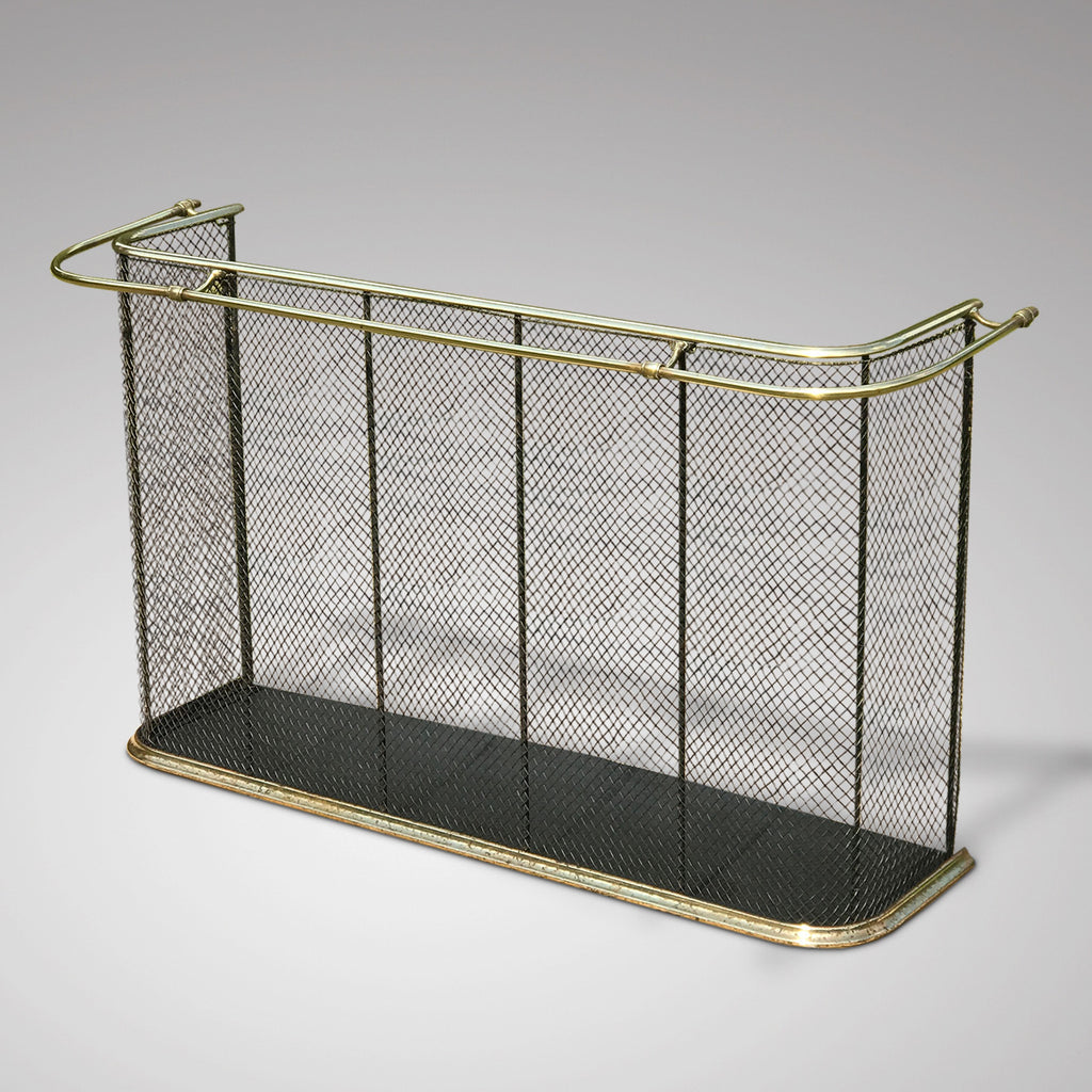 19th Century Nursery Fireguard with Brass Double Rail - Main & Side View - 1