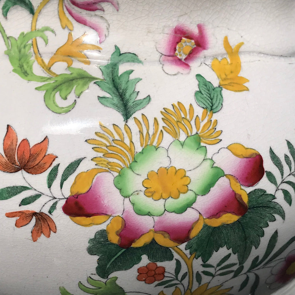 19th Century Floral Ceramic Footbath - Pattern Detail View - 4