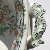 19th Century Floral Ceramic Footbath - Handle Detail View - 5