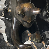 Art Deco Bronze Cat Sculpture - Detail View - 5