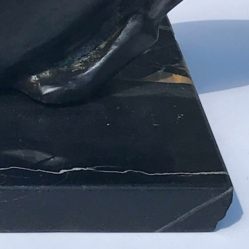 Art Deco Bronze Cat Sculpture - Detail View of Marble Base - 8