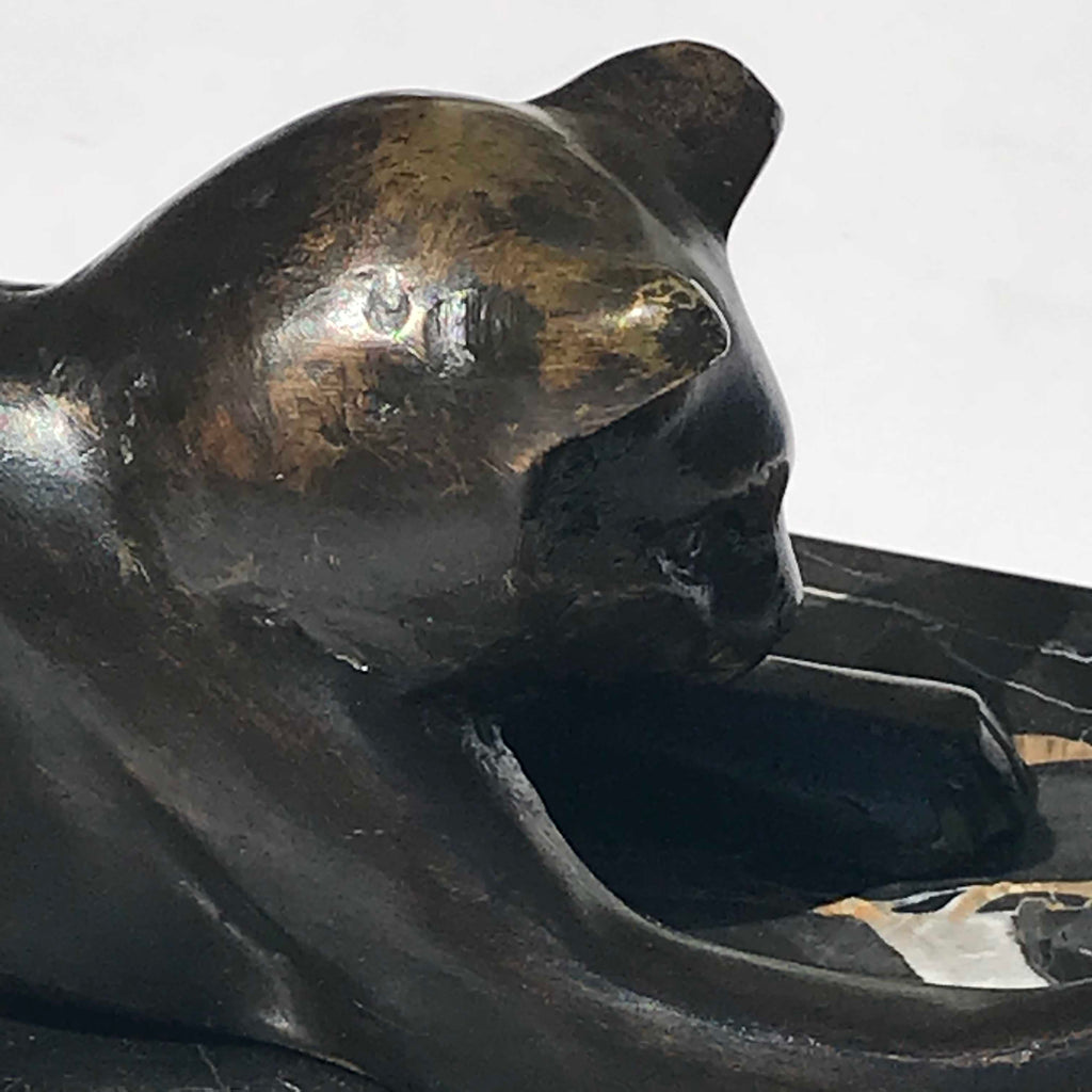 Art Deco Bronze Cat Sculpture - Detail View - 6