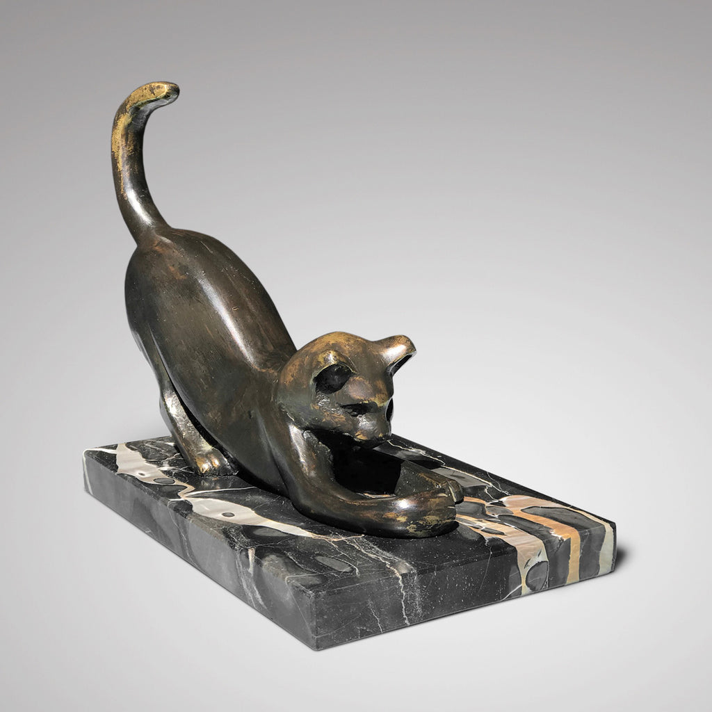 Art Deco Bronze Cat Sculpture - Front & Side View - 1