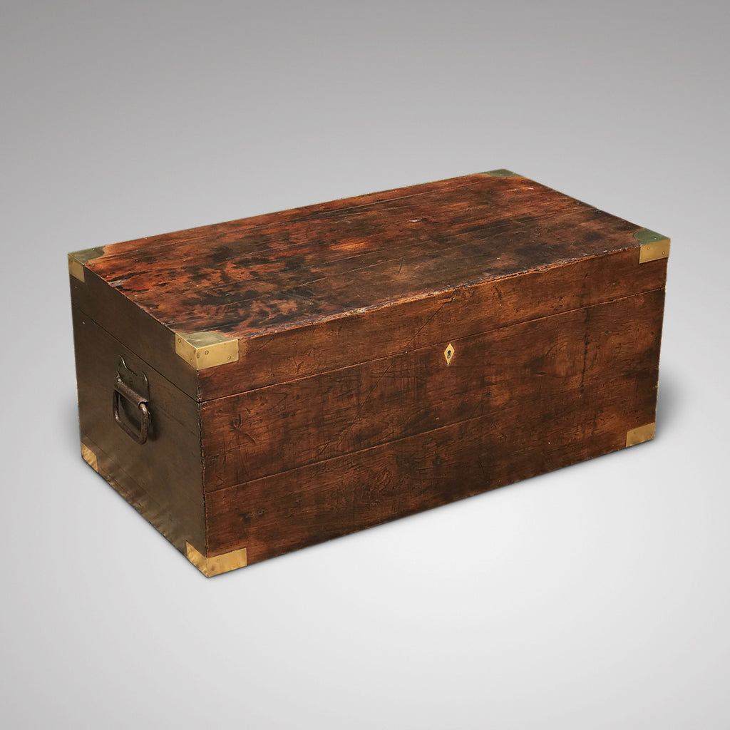 19th Century Teak Brass Cornered Trunk - Main View - 1