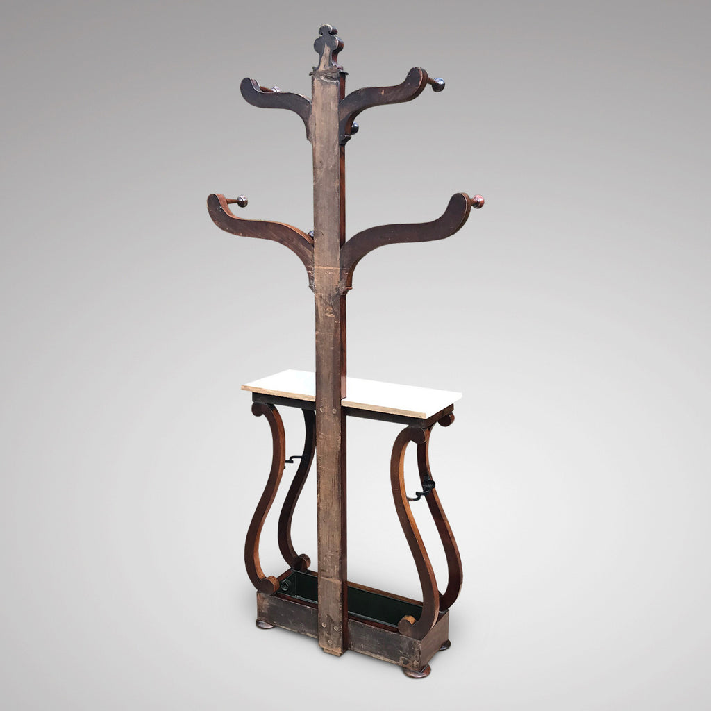 Victorian Mahogany Hall Stand with Marble Top - Back View - 2