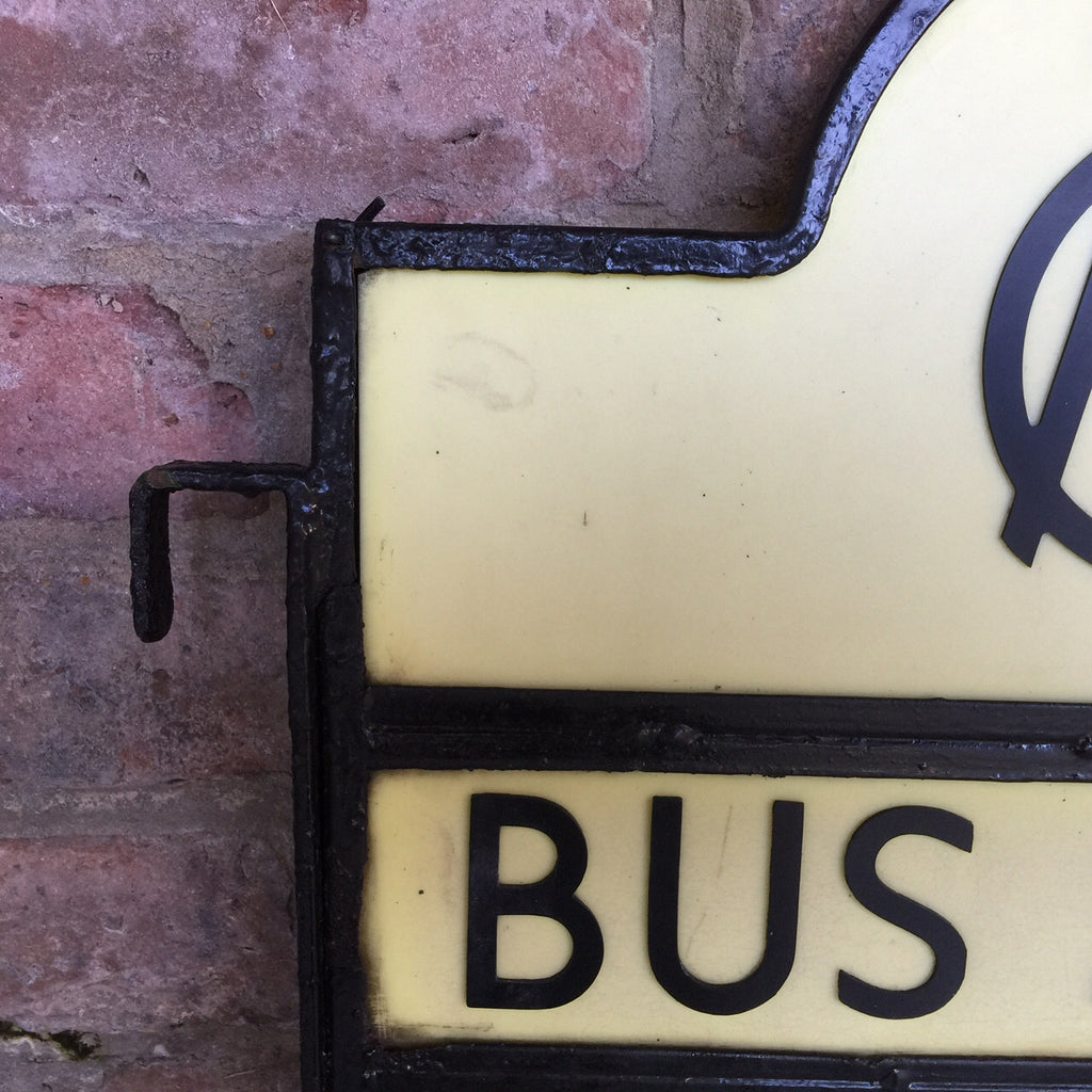 Art Deco Bus Stop Sign - Top Detail-3