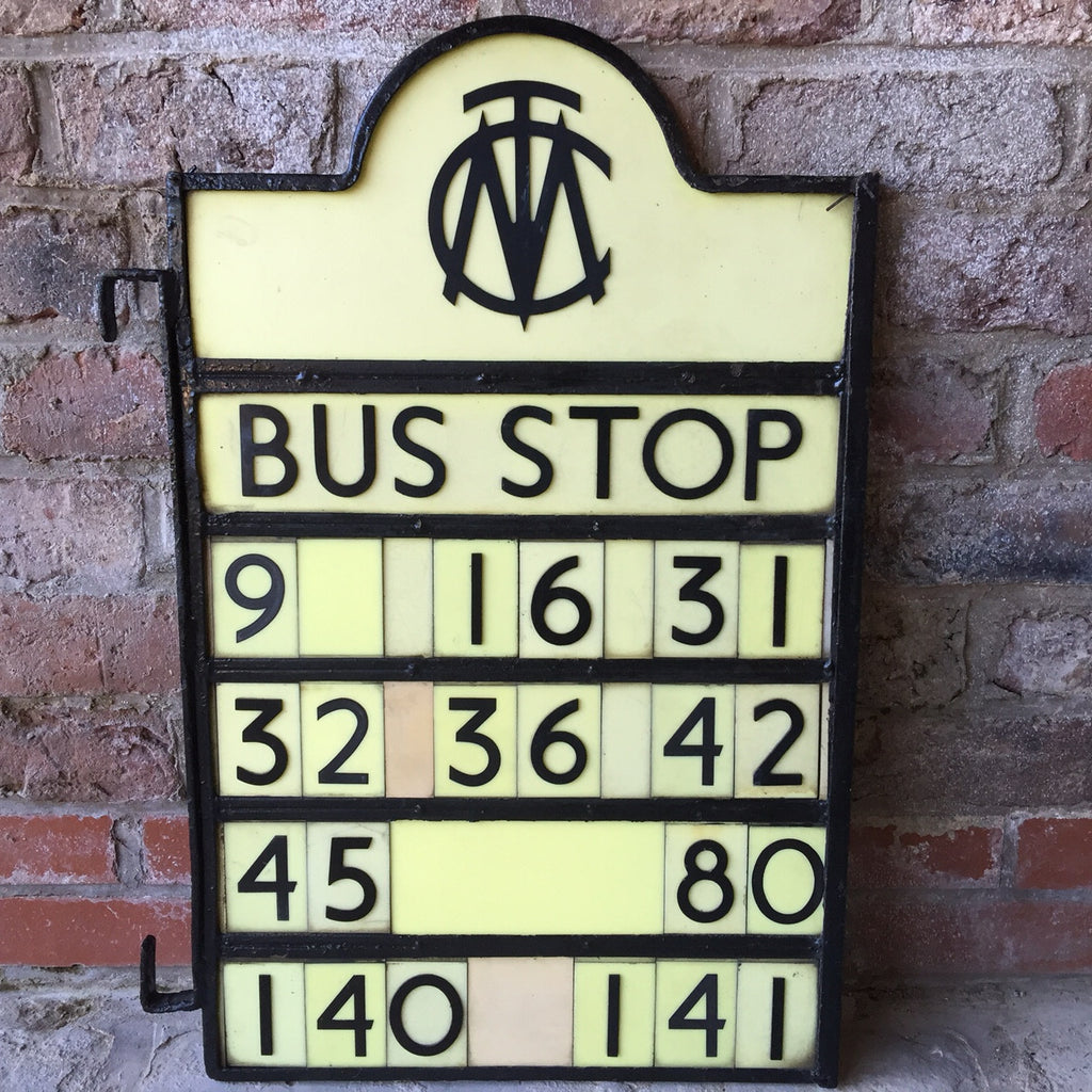 Art Deco Bus Stop Sign - Front View- 1