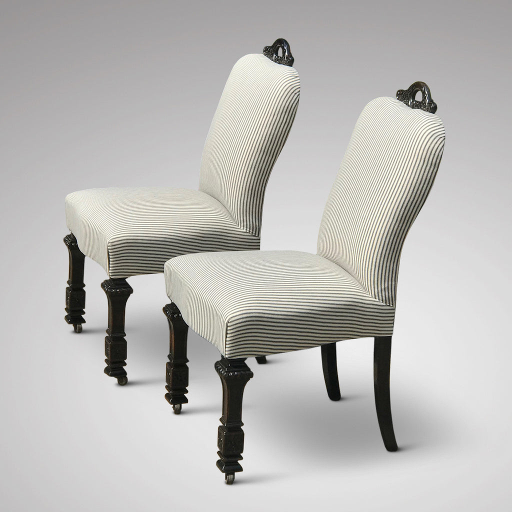 Pair of 19th Century Ebonised Side Chairs - Side View - 4