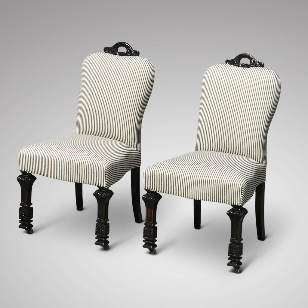 Pair of 19th Century Ebonised Side Chairs - Front View - 3