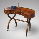Antique Mahogany Kidney Shaped Writing Table -Front View one