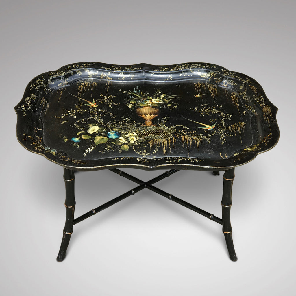 19th Century Papier Mache Tray on Later Stand - Front View - 2