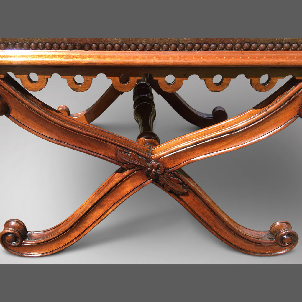 19th Century Mahogany X Frame Stool - Frame detail view- 3