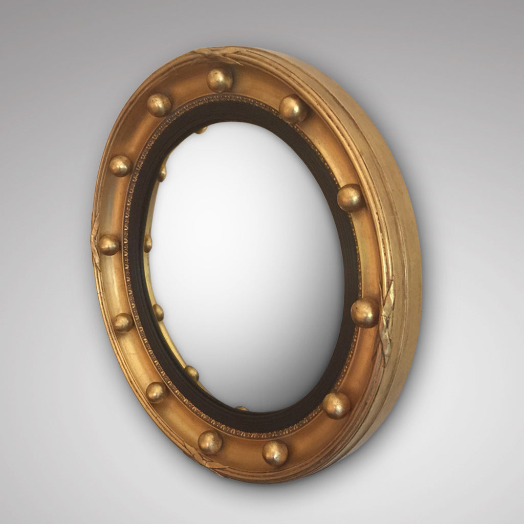 Late 19th Century Convex Mirror - Front and side view unedited glass