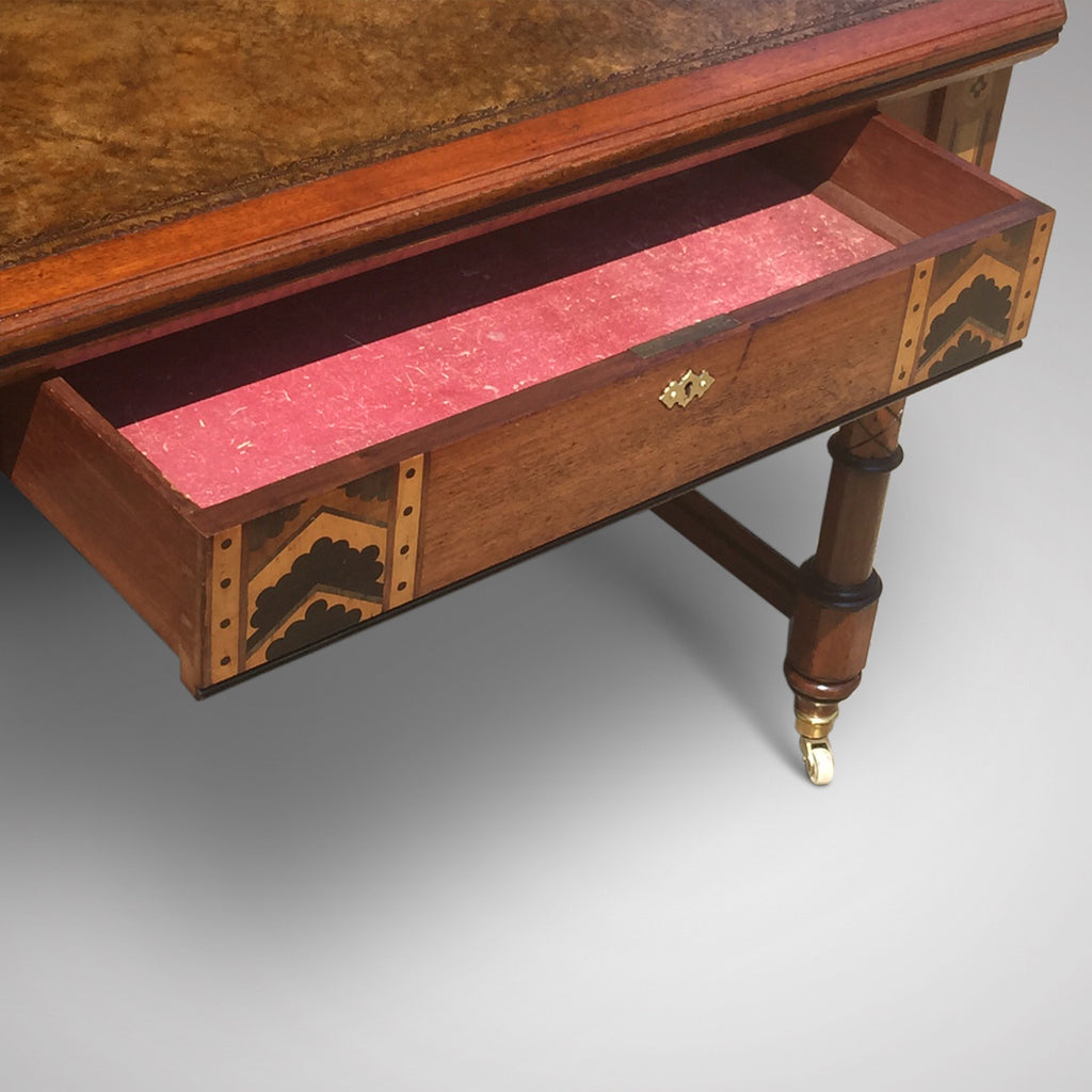 19th Century Oak Arts & Crafts Writing Table - View of drawer