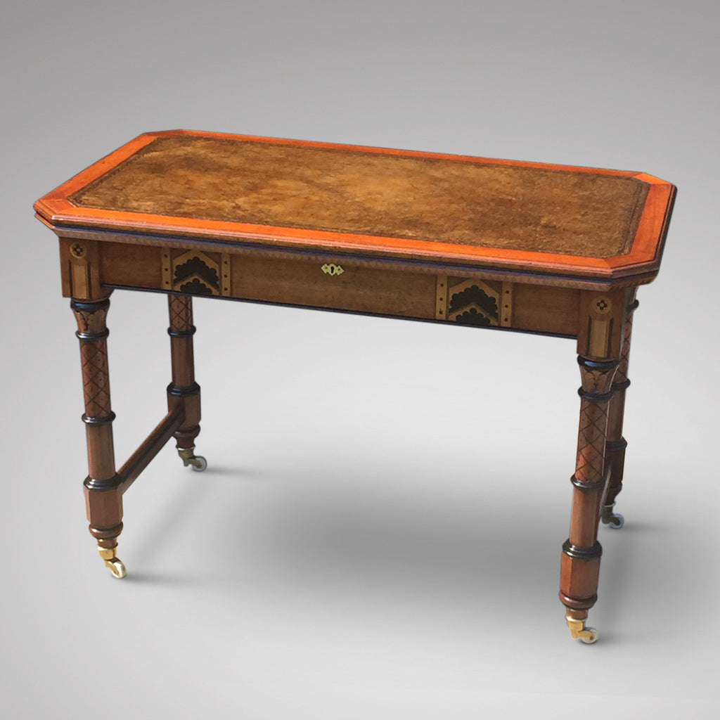 19th Century Oak Arts & Crafts Writing Table - Front view 2